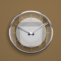 3d model of designer glass metal wall clock