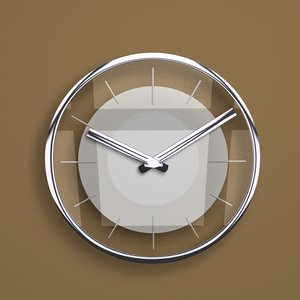 3d model of designer glass metal wall clock
