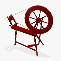3d model antique spinning wheel