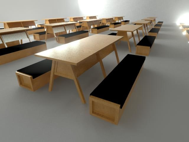 3d wooden table bench set