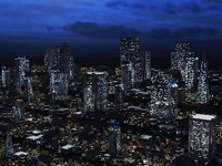 midnight city building skyscrapers 3d max