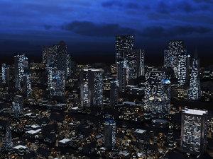 midnight city building skyscrapers 3d max