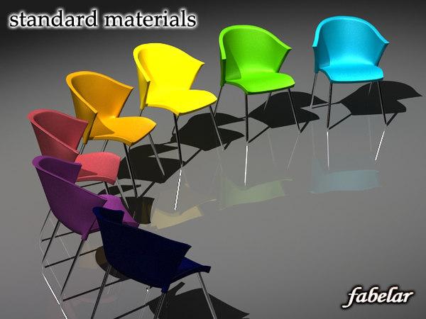 3d model chair standard materials