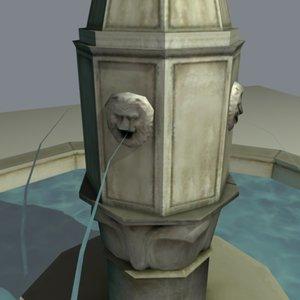 italian style fountain twilight 3d max