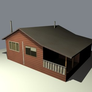 3d small country house twilight