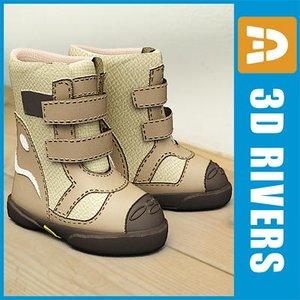 kids boots shoes 3d model