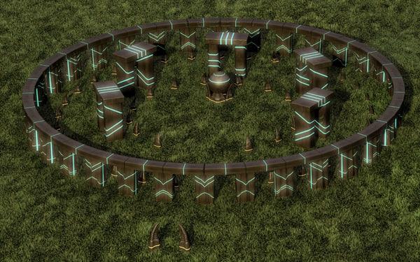 3d model sci-fi stonehenge