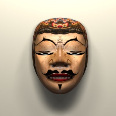 3d javanese mask wall model