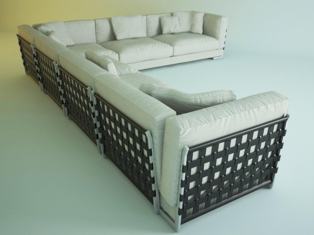 sofa cestone flexform 3d model