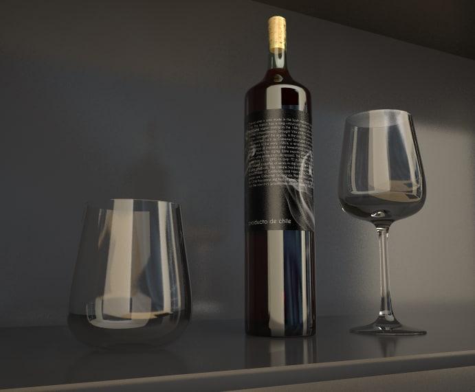 3d 3dm wine glasses