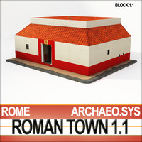 3d model roman house 1 lo-poly
