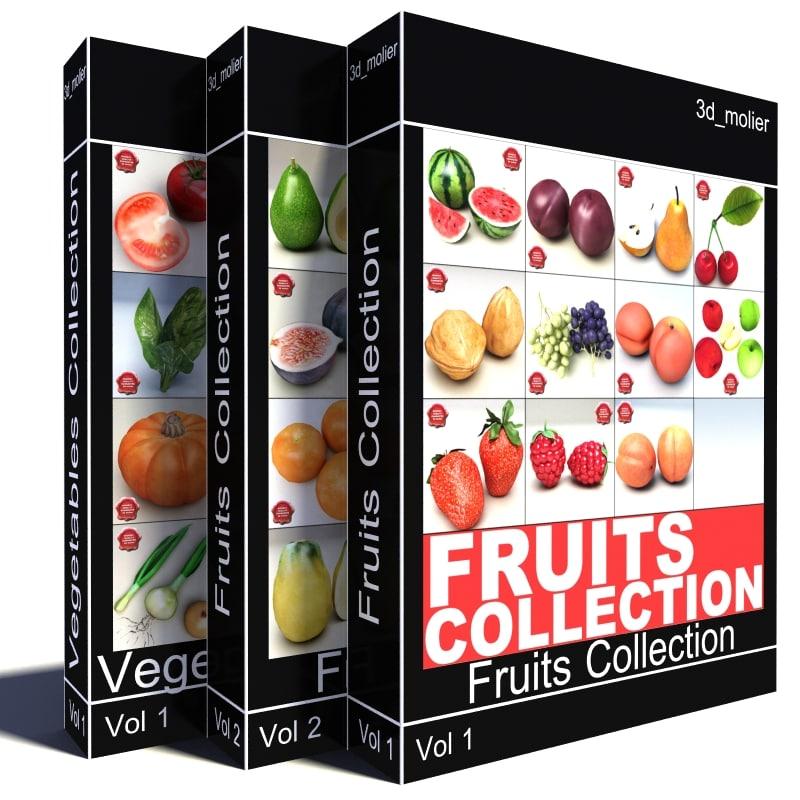 3d fruits vegetables model