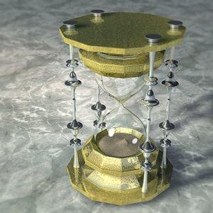3d hourglass glass model