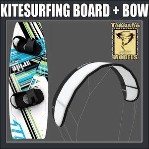 3d kitesurfing board bow