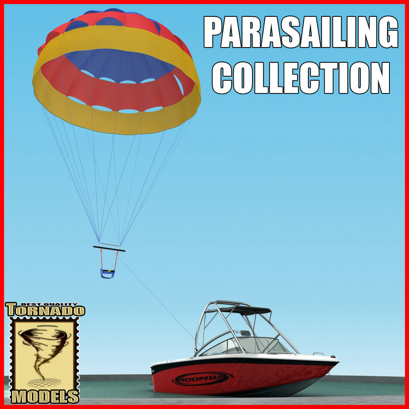 motorboat parasailing 3d model