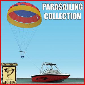 motorboat parasailing 3d model