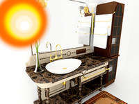 3d model of old-fasioned bathroom furniture