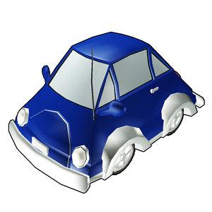 bug mini coup car cartoon 3d model