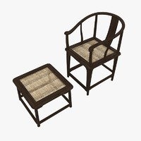 3d model of chinese traditional chair table
