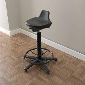 drafting stool chair 3d model