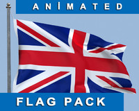 3d model animation england flag