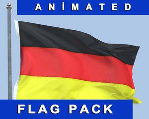 flag wind 3d model