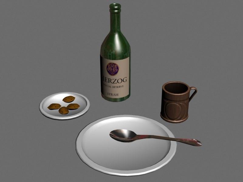 3ds max spoon plate mug bottle