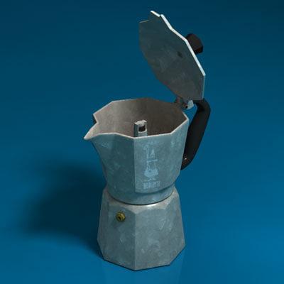 italian coffee moka 3d obj