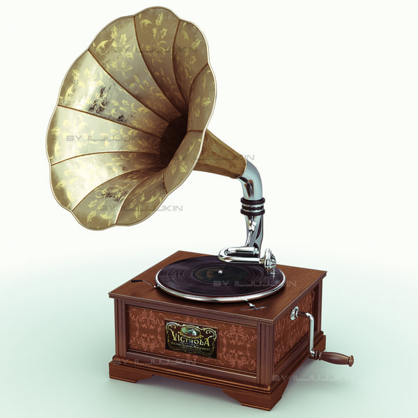 retro gramophone 3d model