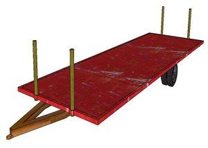 transport bale trailer 3d 3ds