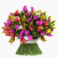 3d tulip bouquet flowers