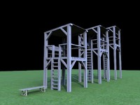 wooden watchtowers 3d ma