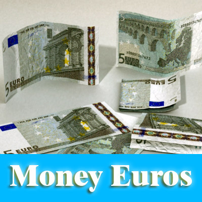 3d 5 euros banknote -