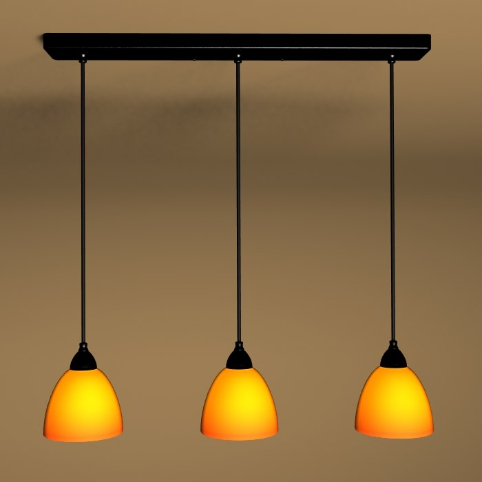 3-light black pendant ceiling light 3d model