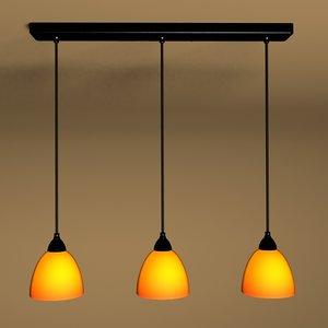 3-light black pendant ceiling light 3d model