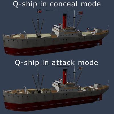 ww1 q-ship ship obj
