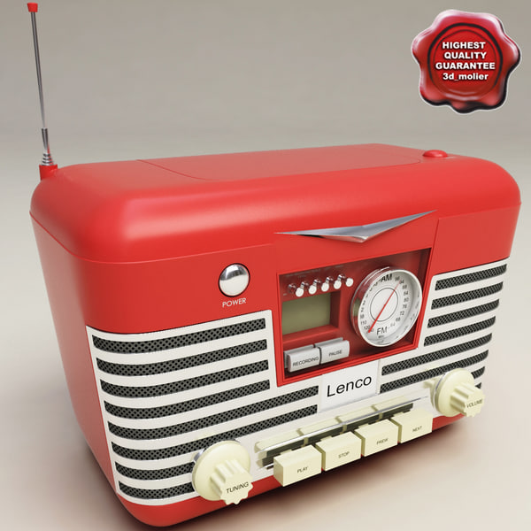 retro radio lenco 3d model