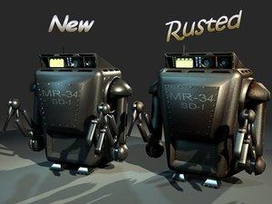 rusty maintenance robot rigging 3d model