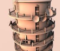 3d satellite tower