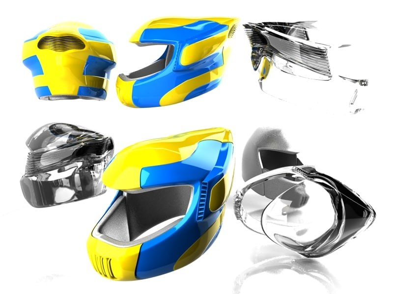 3d futuristic motorcycle helmet model