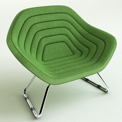 3d model green lounge chair