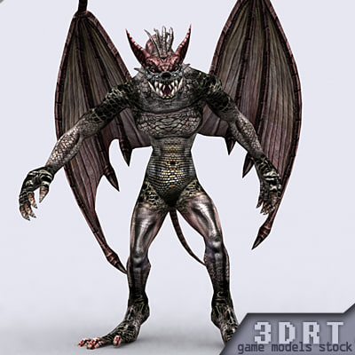 real-time fantasy gargoyle monster 3d model