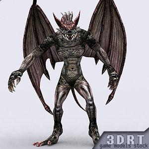 real-time fantasy gargoyle monster 3d model