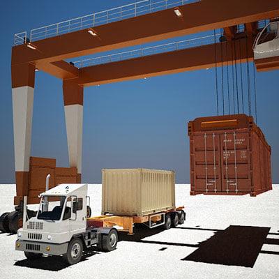 3d model of port crane yard