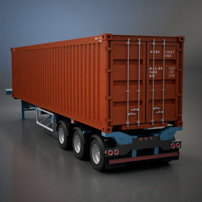 Shipping Container Trailer >> 3ds Max Semi Trailer Shipping Container
