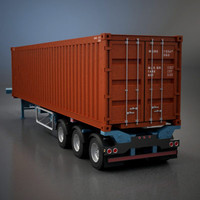 3ds max semi-trailer shipping container -