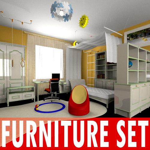 kid bedroom furniture set 3d model