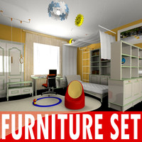 kid bedroom furniture set 3d model