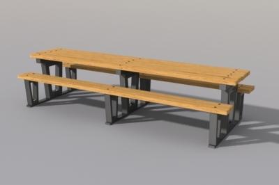 rectangular picnic table 3d model