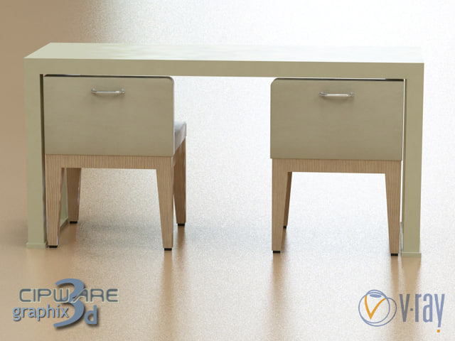 hotel chair table del 3d max